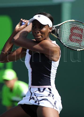 21.03.2012. Miami, Florida.  Venus Williams in action during the first round of Tennis at the Sony Ericsson Open in a game between Venus Williams (USA) and Kimiko Date-Krumm (JPM) at the Tennis Center at Grandon Park, Miami, Florida
