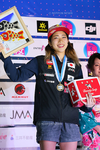 Akiyo Noguchi (JPN), <br /> APRIL 24, 2016 - Sports Climbing : <br /> IFSC Climbing World Cup - Bouldering Kazo 2016 <br /> Women's Award Ceremony <br /> at Kazo Civic Gymnasium, Saitama, Japan. <br /> (Photo by YUTAKA/AFLO SPORT)