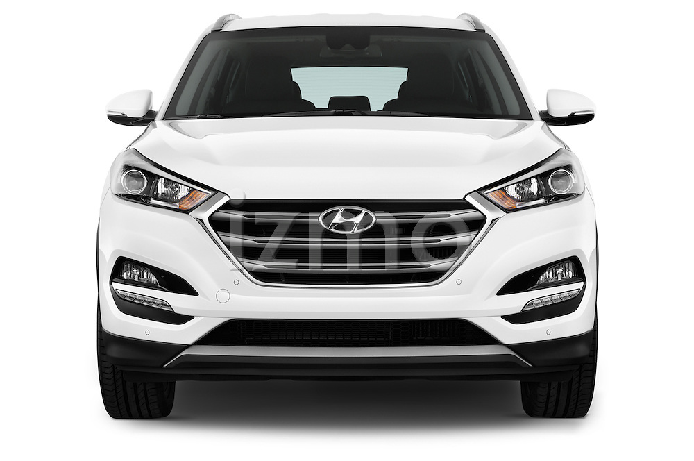 Car photography straight front view of a 2015 Hyundai Tucson Launch Edition 5 Door Suv Front View