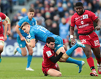 12th January 2020; RDS Arena, Dublin, Leinster, Ireland; Heineken Champions Champions Cup Rugby, Leinster versus Lyon Olympique Universitaire; Garry Ringrose (Leinster) is tackled by Sam Hidalgo-Clyne (Lyon)  - Editorial Use