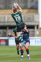 Murray McConnell of Nottingham Rugby collects the high ball under pressure from Peter Lydon of London Scottish during the Greene King IPA Championship match between London Scottish Football Club and Nottingham Rugby at Richmond Athletic Ground, Richmond, United Kingdom on 15 April 2017. Photo by David Horn.