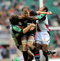 Twickenham, GREAT BRITAIN,  Saracens, Chris JACK, driving through, carring left, Quins, Gonzalo TIESi and right, Waisea LUVENIYALI, as he powers on, during the Guinness Premiership match,  Saracens vs Harlequins, at Twickenham Stadium, Surrey on Sat 06.09.2008. [Photo, Peter Spurrier/Intersport-images]