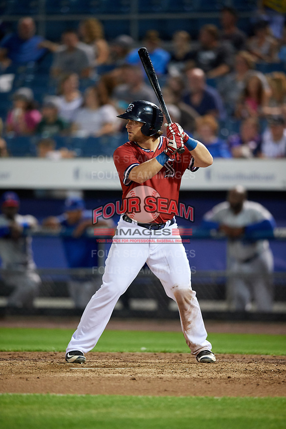 Syracuse Chiefs catcher Taylor Gushue (18) at bat during a game against the Buffalo Bisons on September 2, 2018 at NBT Bank Stadium in Syracuse, New York.  Syracuse defeated Buffalo 4-3.  (Mike Janes/Four Seam Images)