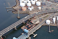 "Overview of Pearl Harbor Memorial ""Q"" Bridge New Construction near Interstate I-95 I-91 CT Route 34 Interchanges. Part of the I-95 New Haven Harbor Crossing Corridor Construction Project. Photography captured at the beginning of Contract B1 & E1 of coffer damns and pier construction. East end of Harbor Crossing."
