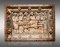 Gothic marble relief sculpture from the tomb of Ramon d'Urtx, died 1290, from the convent of Sant Domenee de Puigcerda, Cerdanya, Spain..  National Museum of Catalan Art, Barcelona, Spain, inv no: MNAC  64011. Against a light grey background.