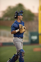 Los Angeles Dodgers catcher Connor Wong (8) during a Minor League Spring Training game against the Seattle Mariners at Camelback Ranch on March 28, 2018 in Glendale, Arizona. (Zachary Lucy/Four Seam Images)