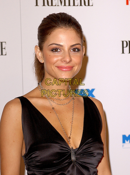 MARIA MENOUNOS.The Miramax Film's 25th Anniversary Party hosted by Elle Magazine,Premiere and Kodak held at The Pacific Design Center in Beverly Hills, California  .February 26th, 2005.pre oscar party headshot black silk satin top plunging neckline cleavage silver chain necklace.www.capitalpictures.com.sales@capitalpictures.com.Supplied By Capital PIctures