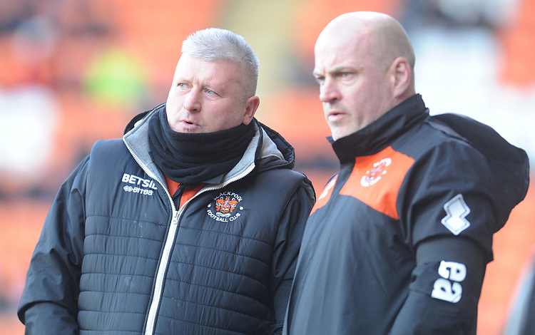Blackpool's Manager Terry McPhillips (left) consults with Assistant Manager Gary Brabin<br /> <br /> Photographer Kevin Barnes/CameraSport<br /> <br /> The EFL Sky Bet League One - Blackpool v Walsall - Saturday 9th February 2019 - Bloomfield Road - Blackpool<br /> <br /> World Copyright &copy; 2019 CameraSport. All rights reserved. 43 Linden Ave. Countesthorpe. Leicester. England. LE8 5PG - Tel: +44 (0) 116 277 4147 - admin@camerasport.com - www.camerasport.com
