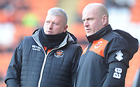 Blackpool's Manager Terry McPhillips (left) consults with Assistant Manager Gary Brabin<br /> <br /> Photographer Kevin Barnes/CameraSport<br /> <br /> The EFL Sky Bet League One - Blackpool v Walsall - Saturday 9th February 2019 - Bloomfield Road - Blackpool<br /> <br /> World Copyright © 2019 CameraSport. All rights reserved. 43 Linden Ave. Countesthorpe. Leicester. England. LE8 5PG - Tel: +44 (0) 116 277 4147 - admin@camerasport.com - www.camerasport.com