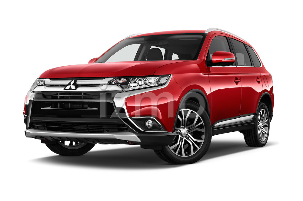 Stock pictures of low aggressive front three quarter view of 2016 Mitsubishi Outlander Intense Premium 5 Door SUV Low Aggressive