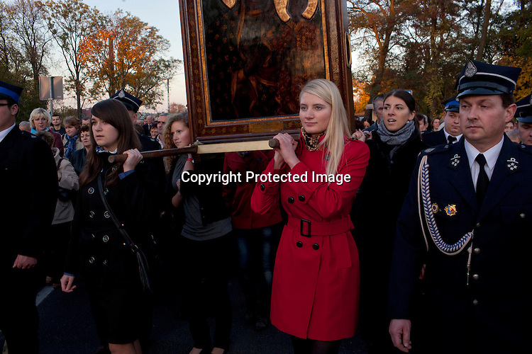 The procession with the miraculous icon of Black Madonna from Czestochowa.