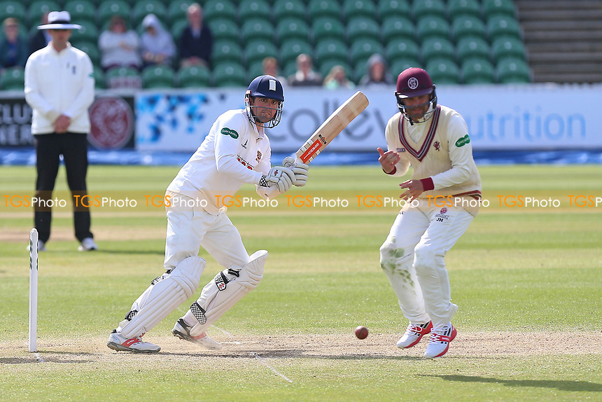 Alastair Cook of Essex brings up his century with a boundary during Somerset CCC vs Essex CCC, Specsavers County Championship Division 1 Cricket at The Cooper Associates County Ground on 16th April 2017