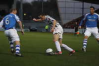 John McGinn takes on Steven Anderson in the St Mirren v St Johnstone Clydesdale Bank Scottish Premier League match played at St Mirren Park, Paisley on 8.12.12.