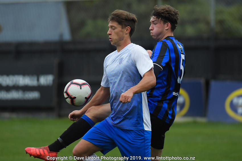Action from the Central League football match between Team Wellington and Wellington Phoenix Reserves at David Farrington Park in Wellington, New Zealand on Monday, 22 April 2019. Photo: Dave Lintott / lintottphoto.co.nz