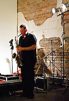 SB, DE, and KK playing at Zeitgeist in New Orleans during a scatterjazz show.