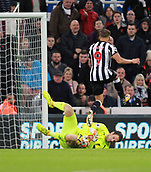 4th November 2017, St James Park, Newcastle upon Tyne, England; EPL Premier League football, Newcastle United Bournemouth; Artur Boruc of AFC Bournemouth saves at the feet of Dwight Gayle of Newcastle United in the second half