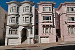 Houses on a street in the Nob Hill neighborhood in San Francisco, California