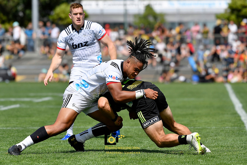 Crusaders' Leicester Fainga'anuku in action during the Super Rugby Preseason - Hurricanes v Crusaders at Levin Domain, Levin, New Zealand on Saturday 2 February 2019. <br /> Photo by Masanori Udagawa. <br /> www.photowellington.photoshelter.com