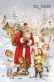 Interlitho, Patricia, CHRISTMAS SANTA, SNOWMAN, nostalgic, paintings, santa, 4 kids, houses(KL5660,#X#) Weihnachten, nostalgisch, Navidad, nostálgico, illustrations, pinturas