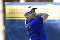 Julian Suri (USA) tees off the 4th tee during Saturday's Round 3 of the 2018 Turkish Airlines Open hosted by Regnum Carya Golf &amp; Spa Resort, Antalya, Turkey. 3rd November 2018.<br /> Picture: Eoin Clarke | Golffile<br /> <br /> <br /> All photos usage must carry mandatory copyright credit (&copy; Golffile | Eoin Clarke)