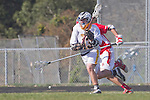 Palos Verdes, CA 03/30/10 - Kodiak Spydell (Peninsula #13) and Geoffrey Lowe (Palos Verdes #1) in action during the Palos Verdes-Peninsula Varsity CIF Boys lacrosse game at Peninsula HS.