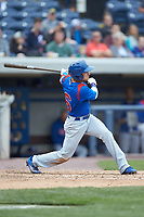 Jhonny Bethencourt (6) of the South Bend Cubs follows through on his swing against the West Michigan Whitecaps at Fifth Third Ballpark on June 10, 2018 in Comstock Park, Michigan. The Cubs defeated the Whitecaps 5-4.  (Brian Westerholt/Four Seam Images)