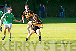 In Action Currow's Pat O'Sullivan and St.Brendan's Kevin Shanaghan at the  Currow Vs St. Brendans in the Kerry Senior County Football Championship Round 2 at Currow GAA field on Friday