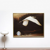 "Kroll: Egret In Flight, Digital Print, Image Dims. 28"" x 38"", Framed Dims. 30"" x 40"""