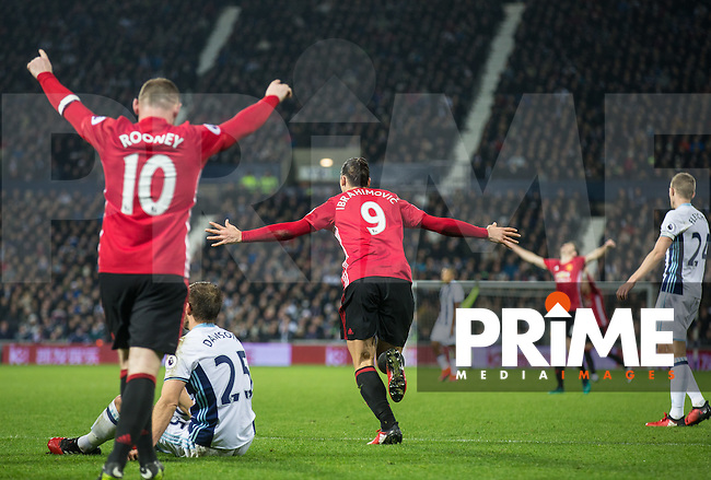 Zlatan Ibrahimovic of Manchester United turns to celebrate his 2nd goal during the EPL - Premier League match between West Bromwich Albion and Manchester United at The Hawthorns, West Bromwich, England on 17 December 2016. Photo by Andy Rowland / PRiME Media Images.