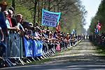 Fans wait for the riders at pave sector 19 La Trouee d'Arenberg during the 115th edition of the Paris-Roubaix 2017 race running 257km Compiegne to Roubaix, France. 9th April 2017.<br /> Picture: ASO/P.Ballet | Cyclefile<br /> <br /> <br /> All photos usage must carry mandatory copyright credit (&copy; Cyclefile | ASO/P.Ballet)