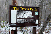 Davis Path sign in the White Mountains, New Hampshire.