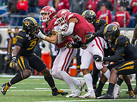 Hawgs Illustrated/BEN GOFF <br /> Chase Harrell, Arkansas tight end, blocks Tyree Gillespie (9), Missouri strong safety, as Rakeem Boyd, Arkansas running back, drags Joshuah Bledsoe (18) and Devin Nicholson of Missouri on a run in the first quarter Saturday, Nov. 29, 2019, at War Memorial Stadium in Little Rock.