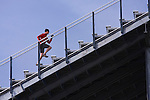 A man running up stairs while training at an athletic stadium in Reno in Nevada