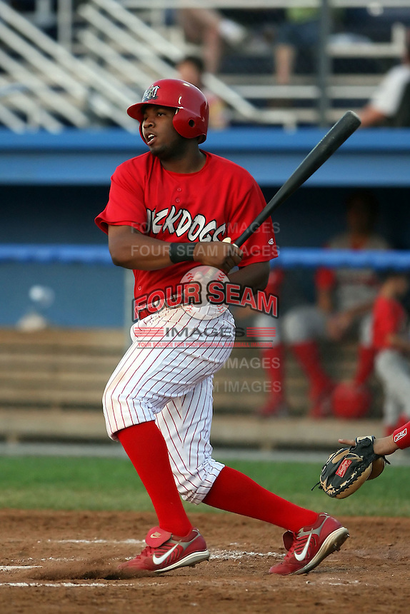 August 3rd 2008:  First baseman Xavier Scruggs of the Batavia Muckdogs, Class-A affiliate of the St. Louis Cardinals, during a game at Dwyer Stadium in Batavia, NY.  Photo by:  Mike Janes/Four Seam Images