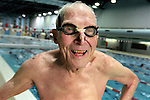 Pictured on Nov. 2000 at the age of 88, Herbert Howe, emeritus professor of classics at the University of Wisconsin Madison, continues to swim daily at the Southeast Recreational Facility swimming pool on campus.