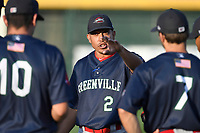 Manager Iggy Suarez (2) of the Greenville Drive talks to his players during a preseason workout on Tuesday, April 3, 2018, at Fluor Field at the West End in Greenville, South Carolina. The 2018 season begins Thursday. (Tom Priddy/Four Seam Images)