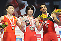 (L-R) Liao Qiuhua (CHN), Kohei Uchimura (JPN), Danell Leyva (USA),JULY 3rd, 2011 - Artistic Gymnastics :Second placed Liao Qiuhua of China, winner Kohei Uchimura of Japan and third placed Danell Leyva of the United States pose on the podium with their medals after the Japan Cup 2011 Men's Individual All-Around at Tokyo Metropolitan Gymnasium in Tokyo, Japan. (Photo by AZUL/AFLO)