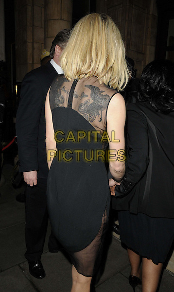 "Sarah Harding.The ""My Beautiful Ball"",The Landmark Hotel, London, England..April 11th, 2013.half length black dress sheer sleeveless back behind rear tattoo.CAP/CAN.©Can Nguyen/Capital Pictures."