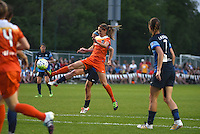 Kansas City, MO - Saturday May 07, 2016: Houston Dash midfielder Morgan Brian (6) defends against FC Kansas City midfielder Jen Buczkowski (6) during a regular season National Women's Soccer League (NWSL) match at Swope Soccer Village. Houston won 2-1.