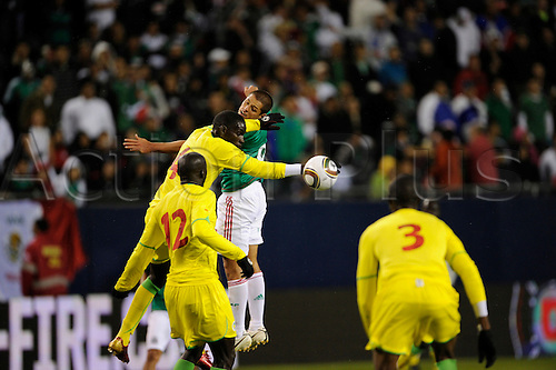 10 May 2010: Javier Hernandez #9, forward for the Mexican National Soccer Team and Pape Malickou Diakhate #4 of Senegal in game action. The Mexican National team defeated Senegal by a score of 1-0 in a International Friendly Match, played at Soldier Field, Chicago, Il