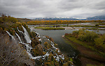Idaho, Eastern, Swan Valley. Fall creek Falls tumbles into the South Fork of the Snake River in the Swan Valley in autumn.