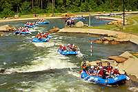 Young outdoor enthusiasts learn the art of whitewater rafting during a summer camp session at the US National Whitewater Center (USNWC) in Charlotte NC. The USNWC is home to one of the world's largest manmade recirculating whitewater courses.