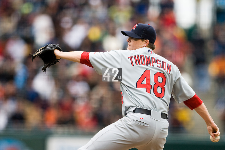 19 April 2007: Cardinals' relief pitcher Brad Thompson throws during the San Francisco Giants 6-2 victory over the St. Louis Cardinals at the AT&T stadium in San Francisco, CA.
