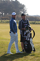 Sam Horsfield with his caddie on the 2nd during the 3rd day at the Betfred British Masters, Hillside Golf Club, Lancashire, England. 11/05/2019.<br /> Picture David Kissman / Golffile.ie<br /> <br /> All photo usage must carry mandatory copyright credit (&copy; Golffile | David Kissman)