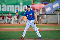 Ogden Raptors starting pitcher Brett de Geus (36) gets ready to deliver a pitch during a game against the Idaho Falls Chukars at Lindquist Field on August 29, 2018 in Ogden, Utah. Idaho Falls defeated Ogden 15-6. (Stephen Smith/Four Seam Images)