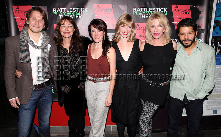McCaleb Burnett, Karen Allen, Samantha Soule, Maren Bush, Pamela Shaw and Carlo Alban attending the Opening Night Performance of The Rattlestick Playwrights Theater Production of 'A Summer Day' at the Cherry Lane Theatre on 10/25/2012 in New York.