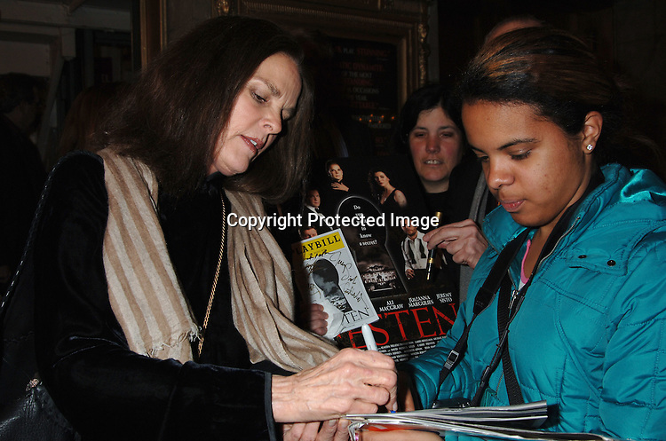 "Ali MacGraw and fans ..at The Broadway opening of ""Festen"" on April 9, 2006 ..at The Music Box Theatre. The show stars, Ali MacGraw, ..Larry Bryggman, Jeremy Sisto and Julianna Margulies. ..Robin Platzer, Twin Images"