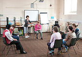Participants and their carers at the beginning of the session, Movement & Music, Learning Support group with their carers,  Adult Learning Centre, Guildford, Surrey.
