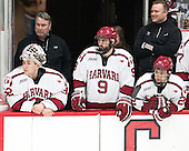 Peter Traber (Harvard - 32), John O'Donnell (Harvard - Equipment Manager), Luke Esposito (Harvard - 9),k Devin Tringale (Harvard - 22) - The Harvard University Crimson defeated the visiting Rensselaer Polytechnic Institute Engineers 5-2 in game 1 of their ECAC quarterfinal series on Friday, March 11, 2016, at Bright-Landry Hockey Center in Boston, Massachusetts.
