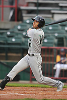 Dayton Dragons center fielder MIles Gordon (10) swings at pitch against the Burlington Bees at Community Field on May 2, 2018 in Burlington, Iowa.  (Dennis Hubbard/Four Seam Images)